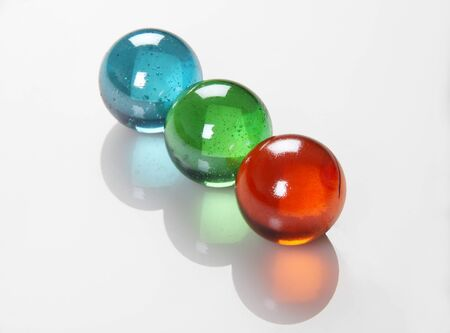 glass sphere: RGB Color Balls  Marbles Orbs on white Reflective Background