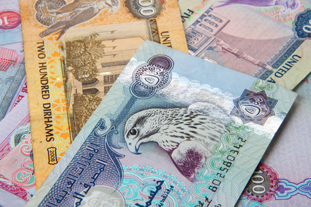 currencies: UAE currency - 500 dirhams closeup note