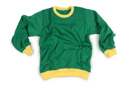 tela algodon: Ropa de invierno de la manga completa camisetas maqueta en Color Verde Amarillo