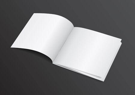 open magazine: Open White Blank Brochure Magazine for Mock up
