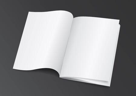 open magazine: Open White Blank Brochure Magazine for Mock up - Vector Illustration