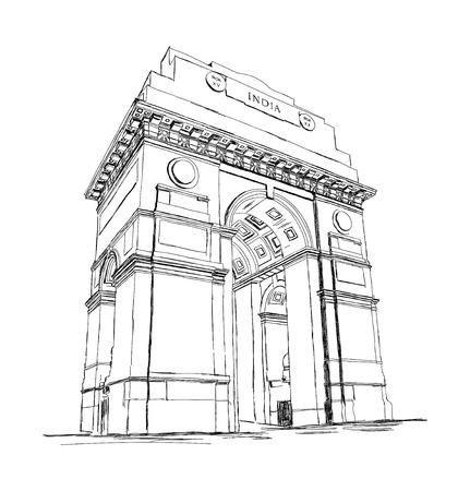 arcos de piedra: Puerta de la India del bosquejo del vector de la ilustración de memoria de la guerra, Nueva Delhi, India
