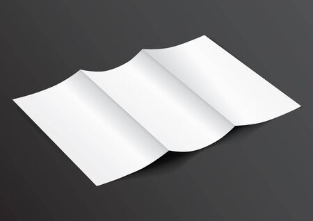 din: Open White Blank Folded Trifold DL Flyer for Mock up - Vector Illustration