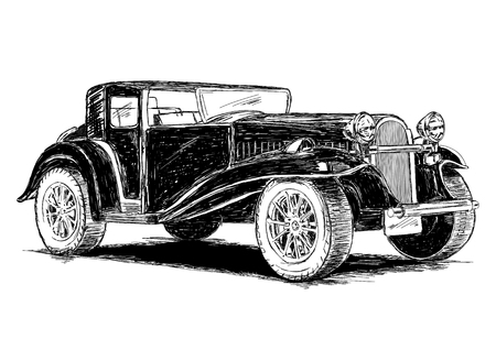 old car: Vintage Retro Classic Old Car Illustration Illustration