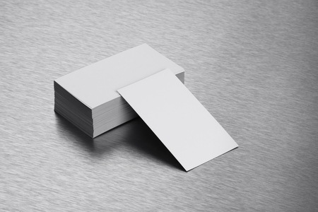 brushed steel: Blank Business Card Mockup on Brushed Steel Background Stock Photo