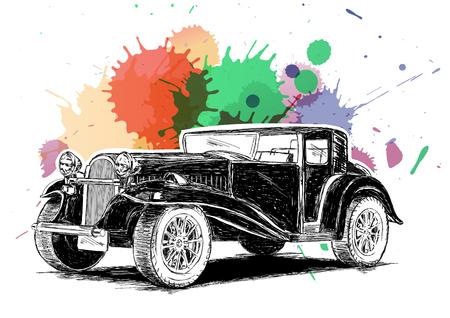 El coche viejo clásico retro de la vendimia con los colores de tinta salpicaduras Ilustración