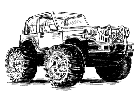 off road vehicle: Extreme Sports - 4x4 Sports Utility Vehicle SUV Off Road Vector Illustration