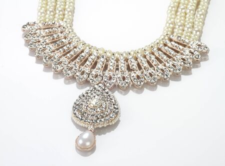 Modern Intricate Indian Jewellery Diamond Necklace on White Background Standard-Bild