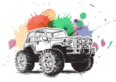 4x4: 4x4 Sports Utility Vehicle SUV Grunge Vector Illustration