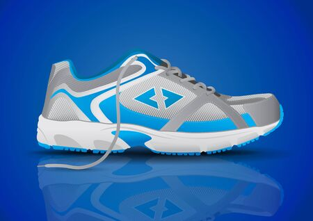 personal accessories: Stylish Blue Sneaker Sports Shoe Vector Illustration