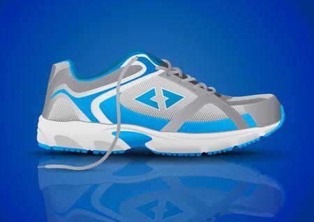 sports shoe: Stylish Blue Sneaker Sports Shoe Vector Illustration