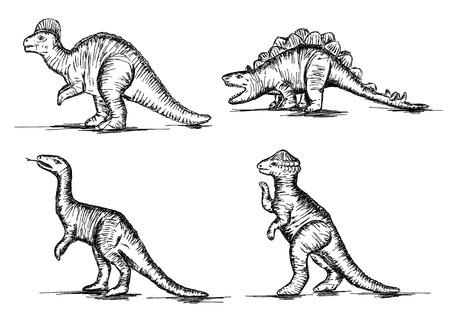 reptiles: Prehistoric Jurassic Dinosaurs Reptiles Sketch Vector Illustration