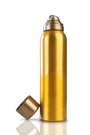 Gold Deodorant Perfume Can or Bottle with reflection