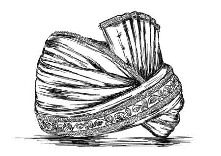 headgear: Indian Traditional Headgear Pagdi Vector Illustration