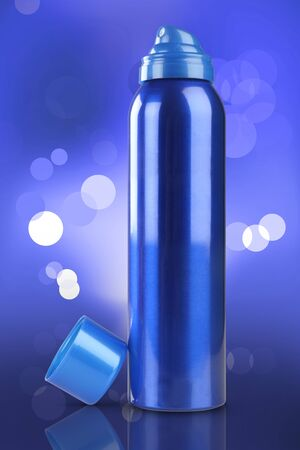 deodorant: Blue Deodorant Perfume Can or Bottle with reflection