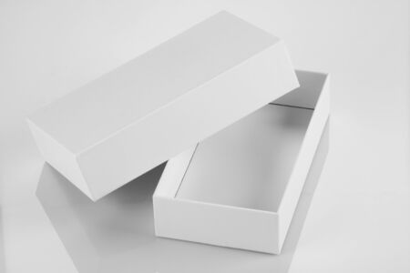packet: Blank White Card Board Box for Mockup Stock Photo