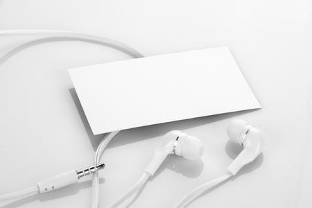identity card: Blank Business Card with Earphones  Headphones