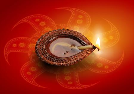 diya: Hindu Festival Diwali Clay Lamp Diya Vector Illustration