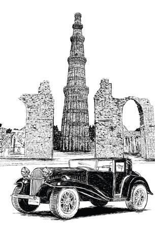 Qutub Minar and Vintage Car Vector Illustration - New Delhi, India Illustration