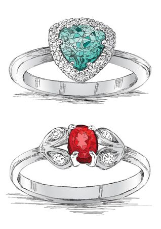 ruby gemstone: Diamond Ring Jewelry Sketch Vector Illustration