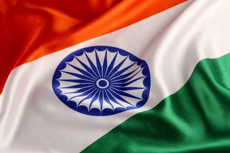 tricolor: Tricolor Indian National Flag - Closeup Stock Photo