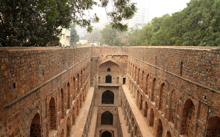 history building: Agrasen ki Baoli (Step Well), Ancient Construction, New Delhi, India