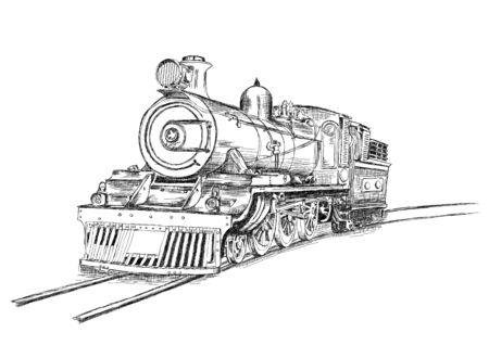 railway transport: Retro Stream Locomotive Train Railway Engine Vector Illustration