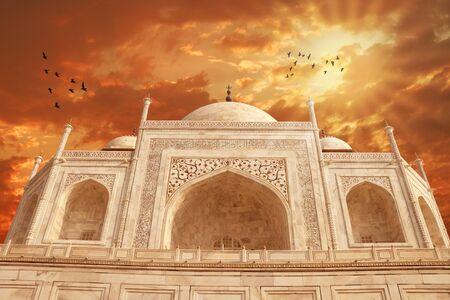 Taj Mahal Exterior Building, Agra, Uttar Pradesh, India Stock Photo