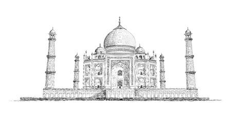 Hand Drawn Detailed Taj Mahal Vector Sketch Illustration 向量圖像