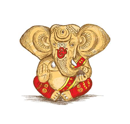 Hindu God Ganesha Vector Sketch Illustration