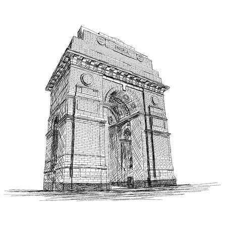 インドゲートベクトルスケッチイラスト戦争記念碑、ニューデリー、インド