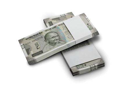 Indische Währung Rupie 500 Banknoten-Bündel auf weißem Hintergrund Standard-Bild