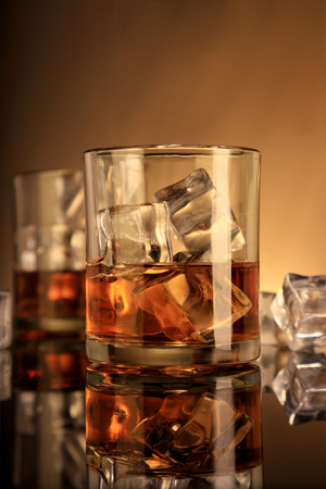 Chilled Whiskey Glasses with Ice Cubes