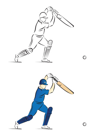 Cricket Batsman Playing a Shot - Vector Illustration