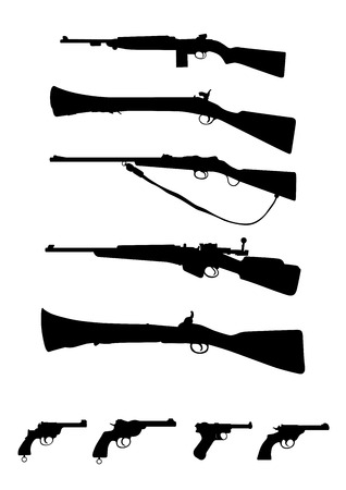 Antique Weapons Guns and Rifles Illustration