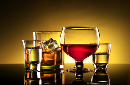 Alcohol - Wine, Whiskey and Shot Glasses Standard-Bild - 119986129