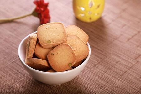 Bakery Product Food Biscuits with Pistachio in a Bowl