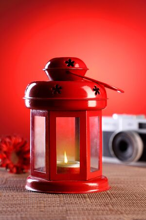 Red Colored Candle Lamp Light  Lantern