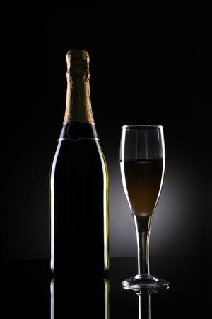 Champagne Bottle and Glass on Black Background Фото со стока