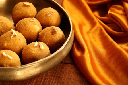 Traditional Indian Round Ball Shaped Sweet Made from Gram Flour Фото со стока