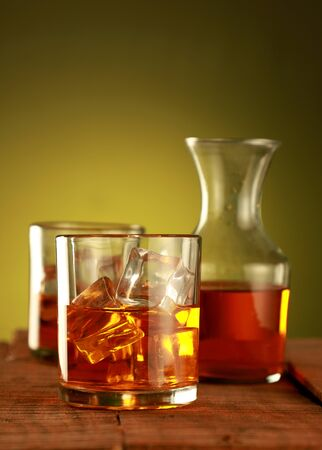 Chilled Whisky Glass with Ice Cubes