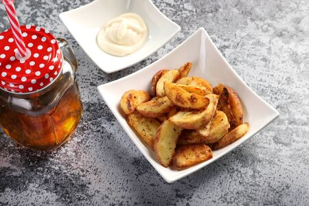 Potato Wedges with Apple Juice  Cold Drink and Mayonnaise Sauce
