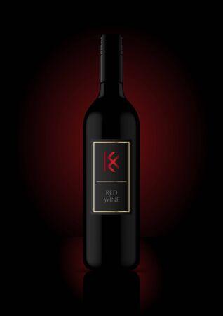 Wine Bottle Vector Illustration for Mockup  Labels