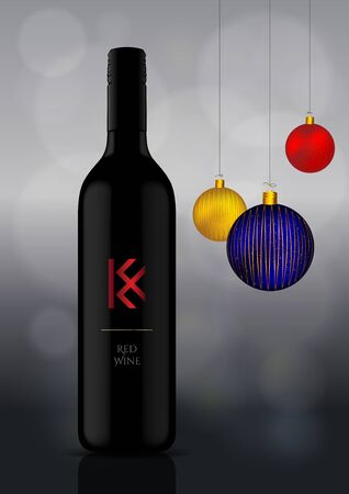 Wine Bottle Vector Illustration with Christmas Ornaments  Celebrations