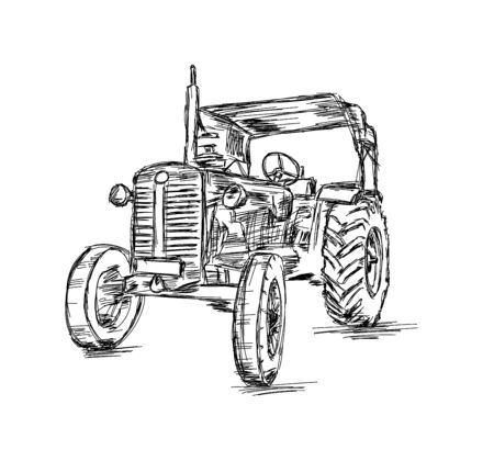 Sketch of Tractor Vehicle for Agriculture - Vector Illustration