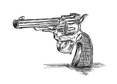 Vintage / Old Revolver Gun Vector Illustration