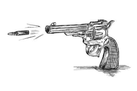 Vintage / Old Revolver Gun with Bullet Vector Illustration