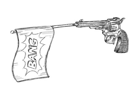 Vintage / Old Revolver Gun with Bang Flag Vector Illustration