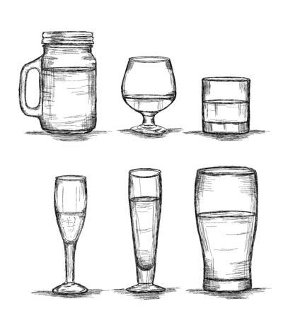 Kolekcja sześciu szklanek - słoik na mason, wino, whisky, szampan, piwo ilustracja wektorowa
