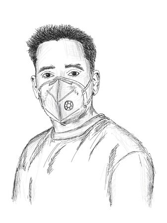 Man wearing mask for protection against virus, dust, pollution and smog - Vector Illustration Illustration